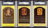 Aaron, Johnson, & Medwick Signed Hall of Fame Plaque Postcards, PSA/DNA Authentic