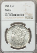 Morgan Dollars: , 1878-S $1 MS65 NGC. NGC Census: (4434/524). PCGS Population: (4729/910). CDN: $230 Whsle. Bid for problem-free NGC/PCGS MS6...