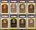 Autographs:Post Cards, Signed Baseball Hall of Fame Yellow Post Card Plaque Collection (8)....