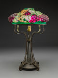 Art Glass, Pairpoint Brass and Reverse Painted Glass Puffy GrapevineLamp. Circa 1920. Shade stenciled PAT. APPLIED FOR...