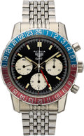 Timepieces:Wristwatch, Heuer, Rare Autavia Ref. 2446C GMT Chronograph, Mark I, Stainless Steel, Manual Wind, Circa 1969. ...