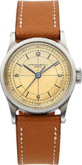 Timepieces:Wristwatch, Patek Philippe, Very Rare and Fine Ref. 96, Sector Dial, StainlessSteel, Circa 1945. ...