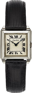 Timepieces:Wristwatch, Cartier Vintage White Gold Wristwatch, European Watch & Clock Co., circa 1920's. ...