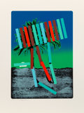 Prints & Multiples:Print, Menashe Kadishman (1932-2015) . Teal and Red Palm, c. 1979. Serigraph in colors on paper. 30-1/2 x 21-1/2 inches (77.5 x...