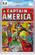 Golden Age (1938-1955):Superhero, Captain America Comics #10 (Timely, 1942) CGC NM 9.4 Cream to off-white pages....
