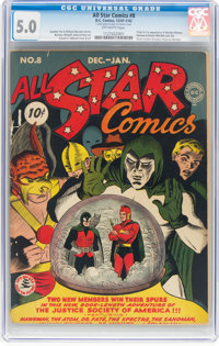 All Star Comics #8 (DC, 1942) CGC VG/FN 5.0 Off-white pages