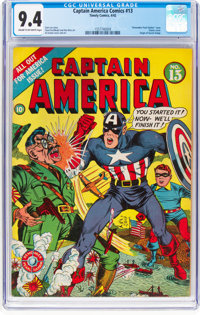 Captain America Comics #13 (Timely, 1942) CGC NM 9.4 Cream to off-white pages