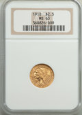 Indian Quarter Eagles: , 1910 $2 1/2 MS63 NGC. NGC Census: (1435/980). PCGS Population: (850/641). CDN: $650 Whsle. Bid for problem-free NGC/PCGS MS...