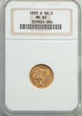 1925-D $2 1/2 MS62 NGC. NGC Census: (6870/9442). PCGS Population: (4188/7235). MS62. Mintage 578,000. ...(PCGS# 7949)