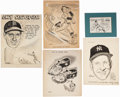Baseball Collectibles:Others, Original Artwork Enos Slaughter Sketches (5) from the Enos Slaughter Collection....