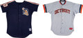 Baseball Collectibles:Uniforms, 1987 Doyle Alexander Game Worn Detroit Tigers Jersey & Practice Jersey Lot of 2....