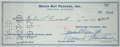 Football Collectibles:Others, 1960 Vince Lombardi & Emlen Tunnell Signed Green Bay Packers Check. ...
