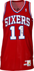 Basketball Collectibles:Balls, 1990-91 Manute Bol Game Worn & Signed Philadelphia 76ers Jersey and Shorts.... (Total: 2 items)
