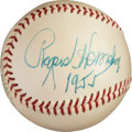 Baseball Collectibles:Balls, 1955 Rogers Hornsby Single Signed Baseball, PSA/DNA NM-MT 8. ...