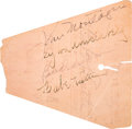 Baseball Collectibles:Others, 1937 Babe Ruth, Babe Didrikson & John Montague Signed Ticket....