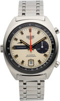 Timepieces:Wristwatch, Heuer, Rare Carrera Ref. 1553S Automatic Chronograph, Stainless Steel, Circa 1972. ...