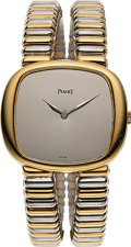 Timepieces:Wristwatch, Piaget, Ladies 18k Yellow and White Gold Bracelet Watch With Mirror Dial, Ref. 9453 C 210. ...