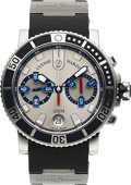 Timepieces:Wristwatch, Ulysse Nardin, Fine Maxi Marine Diver Chronograph, Stainless Steel,Automatic, Ref. 8003-102, Circa 2010. ...