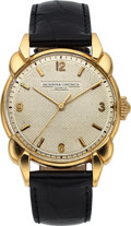 Timepieces:Wristwatch, Vacheron Constantin, Exceptional 35 mm 18k Gold Fancy Lug Wristwatch, Guilloche Dial, Circa 1950. ...