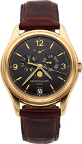 Timepieces:Wristwatch, Patek Philippe Ref. 5146 Very Fine Yellow Gold Annual Calendar With Center Seconds, Moon Phases & Power Reserve Indication. ...