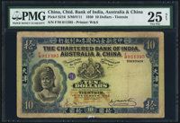 China Chartered Bank of India, Australia & China, Tientsin 10 Dollars 1.12.1930 Pick S216 S/M#Y11 PMG Very Fine...