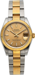 Timepieces:Wristwatch, Rolex, Midsize Datejust, 18K Yellow Gold and Stainless Steel,Automatic, Ref. 178273, Full Set, Circa 2009. ...