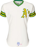Baseball Collectibles:Uniforms, 1975 Angel Mangual Game Worn Oakland Athletics Jersey....