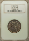 Large Cents: , 1853 1C MS64 Brown NGC. PCGS Population: (289/151). MS64. Mintage 6,641,131. ...