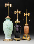Lighting:Lamps, Three Glass and Gilt Bronze Table Lamp Bases. Early 20th century. Ht. 28-7/8 in. (tallest). ... (Total: 3 Items)