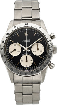 """Rolex, Very Rare Ref. 6239 """"Blue Daytona"""", Oyster Cosmograph, Stainless Steel, Circa 1967"""