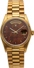 Timepieces:Wristwatch, Rolex, Rare Wood Dial Day-Date President, 18K Yellow Gold, Automatic, Ref. 18038, Full Set, Circa 1979. ...