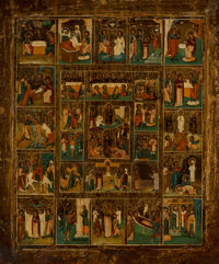 A Russian Tempera on Wood Panel Icon Depicting Twenty-Seven Biblical Scenes, 19th century 21 x 17-1/2 inches (53.3