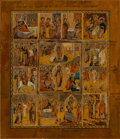Ceramics & Porcelain, Russian, A Large Russian Tempera on Wood Panel Icon Depicting theResurrection and Feasts, 19th century . 21 x 18 inches (53.3 x45.7...