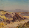 Fine Art - Painting, American, Marion Kavanaugh Wachtel (American, 1876-1954). Desert Path.Oil on canvas laid on board. 11 x 12 inches (27.9 x 30.5 cm...