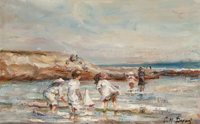 Paul Michel Dupuy (French, 1869-1949) Wading in the Water Oil on canvas 8 x 12 inches (20.3 x 30