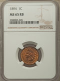Indian Cents, 1894 1C MS65 Red and Brown NGC. NGC Census: (66/4). PCGS Population: (43/5). CDN: $500 Whsle. Bid for problem-free NGC/PCGS...