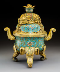 A Chinese Cloisonné Enameled and Cabochon-Mounted Gilt Bronze Censer with Elephant-Form Finial and Feet 17-1/2 x...