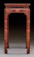 Furniture, A Chinese Lacquered Wood Side Table, 20th century. 24-1/4 x 12-1/4 x 12-1/4 inches (61.6 x 31.1 x 31.1 cm). ...