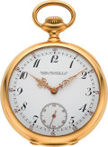 """Timepieces:Pocket (post 1900), Patek Philippe & Cie Rare & Exceptional Quality """"Extra"""" Gold Watch With Guillaume Balance, circa 1908. ..."""