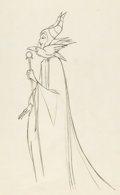 Animation Art:Production Drawing, Sleeping Beauty Maleficent and Diablo Production Drawing(Walt Disney, 1959)....