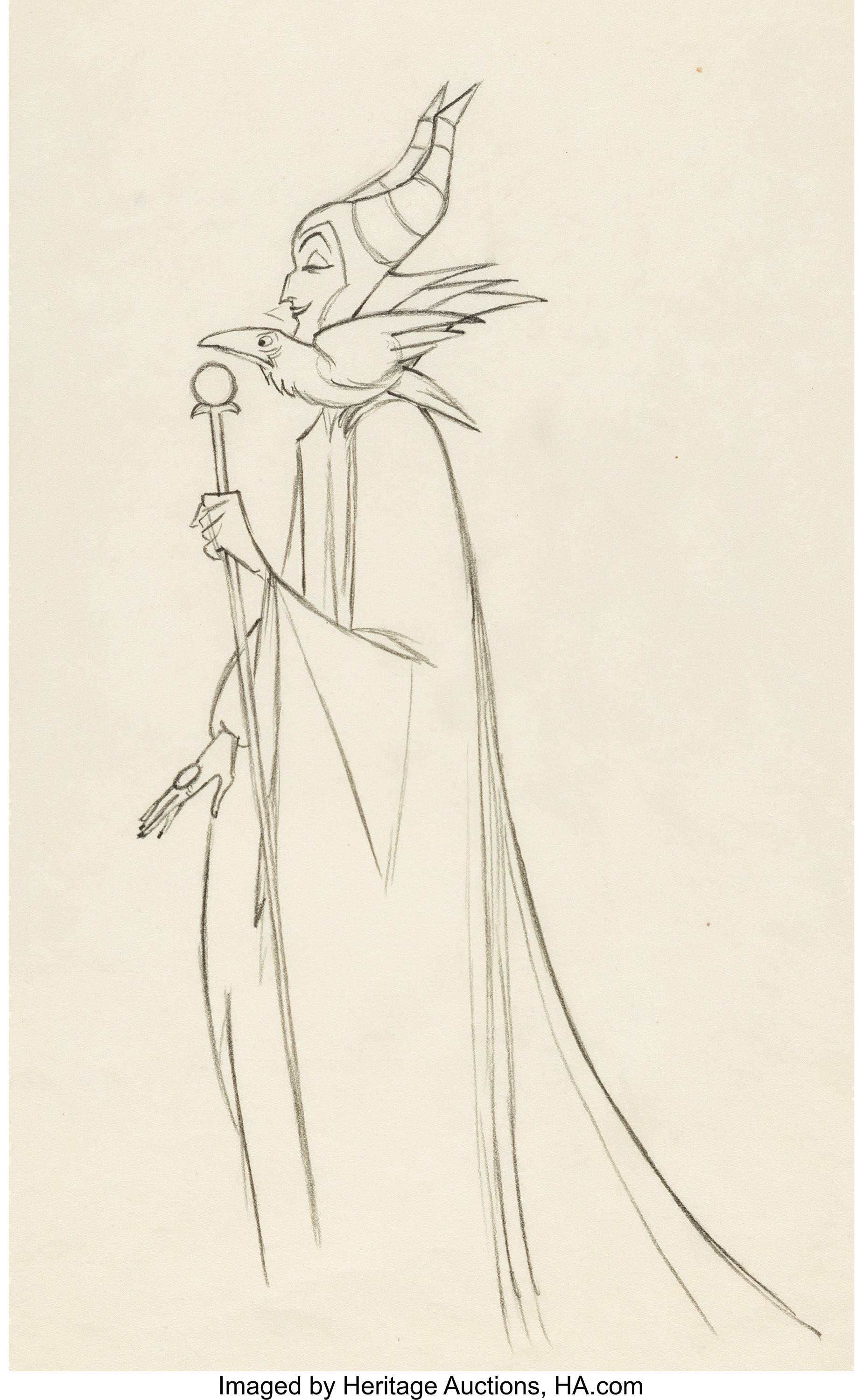 Sleeping Beauty Maleficent and Diablo Production Drawing