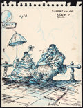 "Animation Art:Production Drawing, Ralph Bakshi ""Sunday on the Beach"" Sketch Original Art (c.1950s)...."