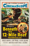 "Movie Posters:Adventure, Beneath the 12-Mile Reef (20th Century Fox, 1953). Folded, VeryFine-. Autographed One Sheet (27"" X 41""). Adventure."