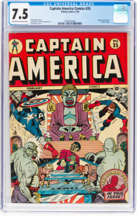 Captain America Comics #35 (Timely, 1944) CGC VF- 7.5 Off-white to white pages