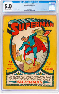 Superman #1 (DC, 1939) CGC VG/FN 5.0 Cream to off-white pages
