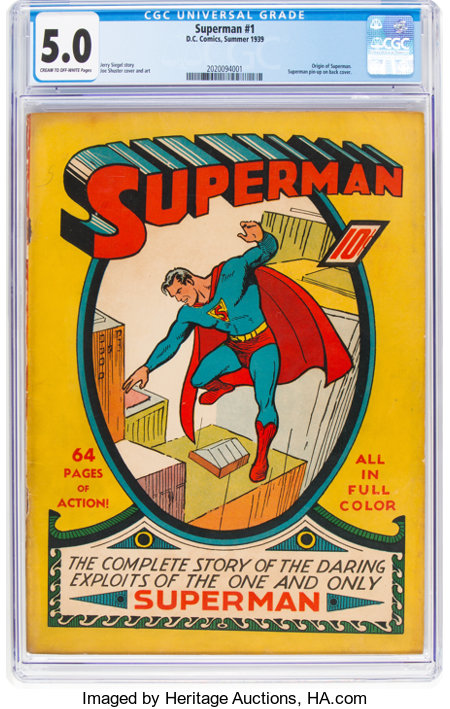 Superman #1 (DC, 1939) CGC VG/FN 5.0 Cream to off-white pages....