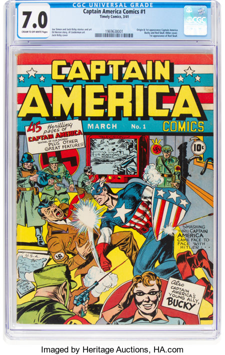 Captain America Comics #1 (Timely, 1941) CGC FN/VF 7.0 Cream to off-white pages....