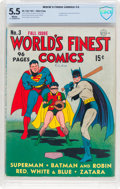 Golden Age (1938-1955):Superhero, World's Finest Comics #3 (DC, 1941) CBCS FN- 5.5 White pages....