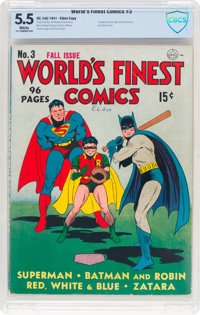 World's Finest Comics #3 (DC, 1941) CBCS FN- 5.5 White pages