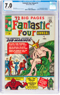 Silver Age (1956-1969):Superhero, Fantastic Four Annual #1 (Marvel, 1963) CGC FN/VF 7.0 Off-white towhite pages....